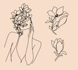 Abstract face with flowers by one line drawing. Portrait minimalistic style. Botanical print. Nature symbol of cosmetics. Modern continuous line art. Fashion print. Canvas Print