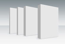 3D Rendering Of Four White Blank Vertical Cuboids On The Ground For Mock-up Template
