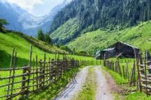 Oil Painting Canvas Of Austrian Tirol Farmland In High Tauern Mountain Range.