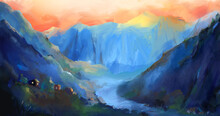 Concept Art Village In The Mountains At Sunset. Background Of Mountainous Terrain.