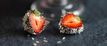 Strawberries With Chocolate And Coconut. Banner. Close-up.