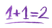 Simple Mathematical Equation Written With Purple Chalk Isolated On White Background