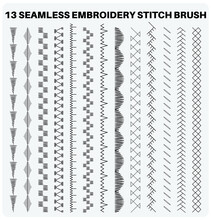 Seamless Embroidery Sewing Stitch Brush Vector Illustrator Set, Different Types Of Machine Stitch Brush Pattern For Fasteners, Dresses Garments, Bags, Fashion Illustration, Clothing And Accessories