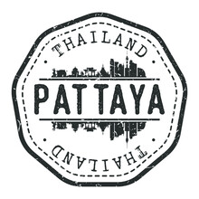Pattaya City, Bang Lamung District, Chon Buri, Thailand Stamp Skyline Postmark. Silhouette Postal Passport. City Round Vector Icon. Vintage Postage Design.