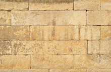 Texture Of Brick Wall And Concrete Blocks. Samples Of Stone Plates Stacked Evenly In A Row.