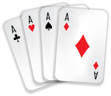 Set Of Playing Cards - Four Aces : Clubs, Spades, Crosses, Diamonds. Vector Image Isolated On The White Background.
