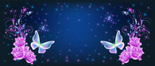 Delightful Magical Butterflies With Pink Roses On Night Sky Background Among Shiny Glowing Sparkle Stars In Cosmic Space. Love And Romance Concept.
