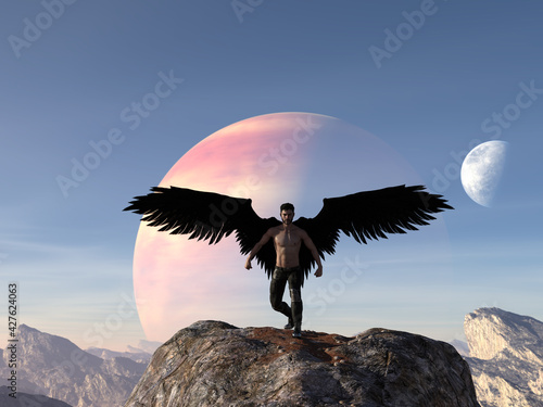 Fotografiet Illustration of a muscled angelic man standing on a large boulder with black wings wearing pants against a rising planet