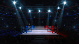Boxing fight ring. Interior upper view of sport arena with fans and shining spotlights. Digital sport 3D illustration.