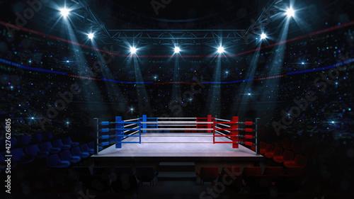 Fototapeta Boxing fight ring. Interior upper view of sport arena with fans and shining spotlights. Digital sport 3D illustration.  obraz