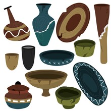 A Set Of Ceramics. Ancient Examples Of Everyday Life. Viking Dishes. Glazing Of Ceramics. Plates, Jugs, Mugs. Vector Illustration Of Kitchen Utensils. Clay.