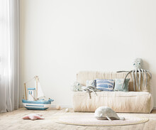 Children's Room With Bed And Soft Toys, White Wall Mock Up In Kids Room Interior, 3d Rendering