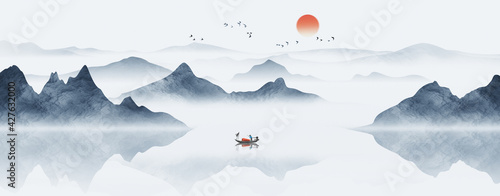 Fotografie, Obraz Hand painted Chinese style blue elegant landscape painting