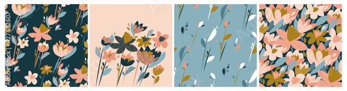 Photo Floral seamless patterns. Summer meadow flowers