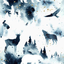 Watercolor Stylish Seamless Pattern With Forest And Animals Under Night Sky In Blue And White Colors. Wild Animals Silhouettes And Trees