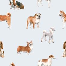 Beautiful Seamless Pattern With Cute Watercolor Hand Drawn Dog Breeds Cocker Spaniel Greyhound Basset Hound Poodle Bulldog And Welsh Corgi Pembroke . Stock Illustration.