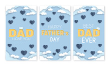 Father's Day Banner Set, Blue Hearts On Cloudy Sky Social Media Story