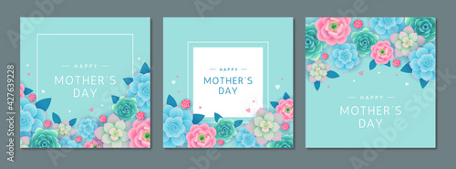 Obraz Happy Mother's day. Greeting card set with beautiful flowers and hearts on turquoise background. Banner or poster design template for mom's holiday - fototapety do salonu