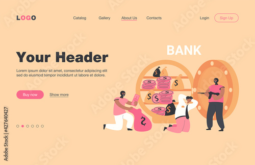 Fotografie, Obraz Banking thieves in masks threatening bank workers flat vector illustration