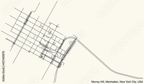 Fotografie, Obraz Black simple detailed street roads map on vintage beige background of the quarte