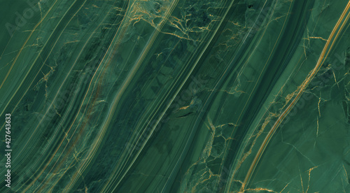 Canvas Print green marble with golden veins