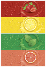 Drinks And Juice Background With Many Drops And Splash -  Grapefruit, Lemon Slice, Mint Leaf And Strawberry