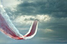 The Planes Are At The Air Show. Aerobatic Team Performs Air Show Flight