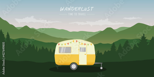 wanderlust camping adventure in the wilderness with camper Fotobehang