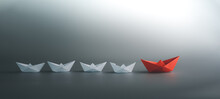 Success Leadership Concept, Blue Leader Boat Leading White, Strategy Planning Development