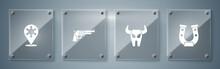 Set Horseshoe, Buffalo Skull, Revolver Gun And Hexagram Sheriff. Square Glass Panels. Vector