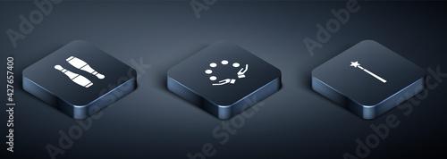 Slika na platnu Set Isometric Bowling pin, Magic wand and Juggling ball icon