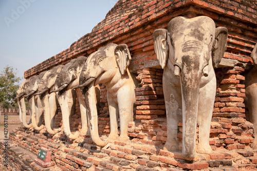 Obraz na plátně Elepahnt at Sukhothai historical park Thailand