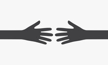 Two Hands Reach Each Other. Vector Illustration.