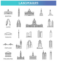 Simple Linear Vector Icon Set Representing Global Tourist American Landmarks And Travel Destinations For Vacations