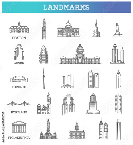 Foto Simple linear Vector icon set representing global tourist american landmarks and