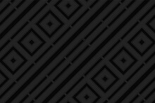 Geometric Volumetric Convex Stylish Black Background. 3D Wallpaper, Embossed Pattern With Shapes And Lines.