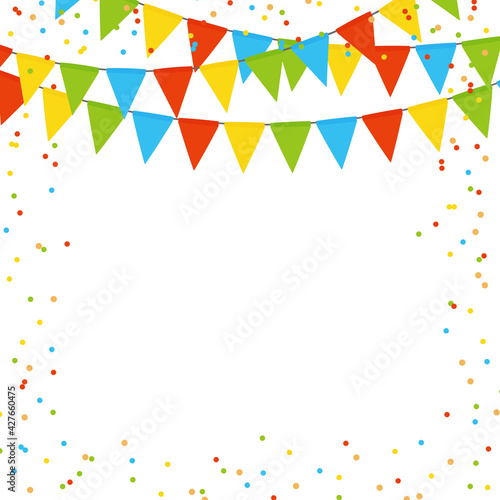 Party holiday abstract background template with flag garlands and confetti. Vector illustration