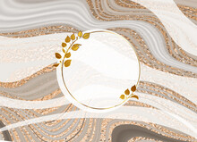 Gold Frame. Vector Round Frame. Marble Brown Background With Gold. Design With Twigs. Place For An Inscription. 3D Gold Effect. Button.