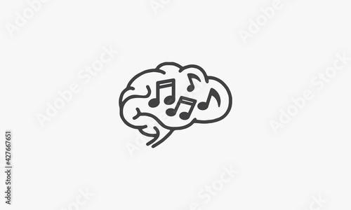 Photo brain music note icon