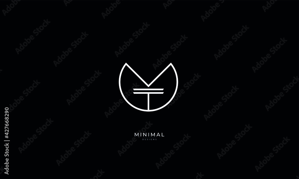 Fototapeta Alphabet letter icon logo YT or TY