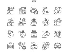 Perfume. Womens And Mans Perfume. Discount Perfume. Aromatic, Odor, Freshness, Cosmetic And Perfumery. Pixel Perfect Vector Thin Line Icons. Simple Minimal Pictogram