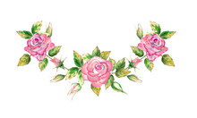 Bouquet With 3 Pink Rose Flowers, Green Leaves, Open And Closed Flowers. Delicate Watercolor Illustration