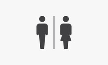 Toilet Sign Icon. Vector Illustration. Isolated On White Background.