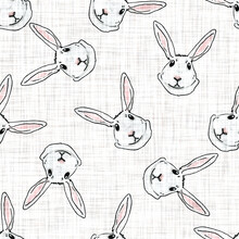 Watercolor Cute Spring Rabbit Motif Background. Hand Painted Earthy Whimsical Seamless Pattern. Modern Linen Textile For Baby Nursery Decor. Neutral Muted Scandi Style Color Bunny All Over Print.