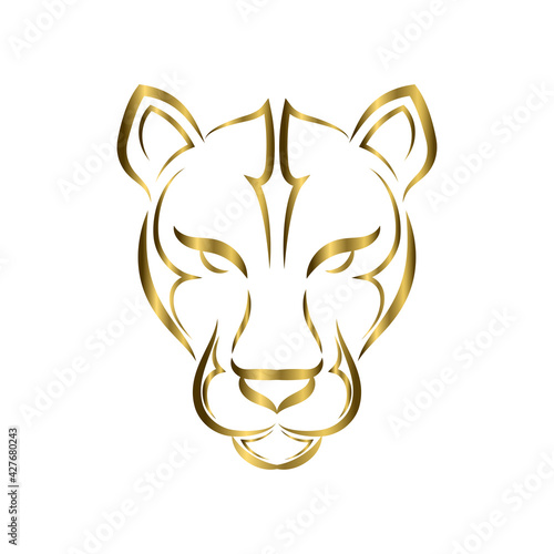 Fototapeta gold line art of cougar head
