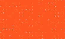 Seamless Background Pattern Of Evenly Spaced White Figure Skating Symbols Of Different Sizes And Opacity. Vector Illustration On Deep Orange Background With Stars