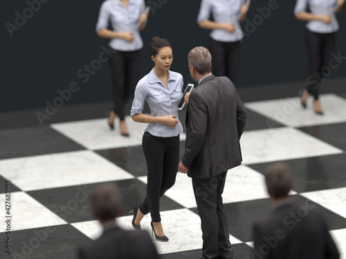 Photo negotiation strategy, business people meet on a chessboard
