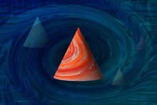 Striped Orange Futuristic Cone Shapes Floating In An Abstract Whirl Spiral Background Copy