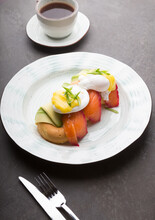 Donuts With Avocado, Salmon And Fried Eggs