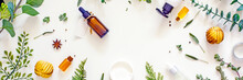 Natural Organic Wellness Cosmetic Flat Lay, Frame Mockup, Top View